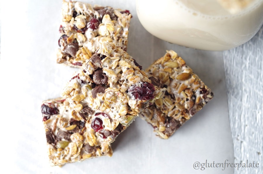 Gluten-Free Vegan Bliss Bars will be a new favorite in your house. The homemade granola combined with gooey marshmallows, and a mix of seeds and dried fruit will have you reaching for seconds.