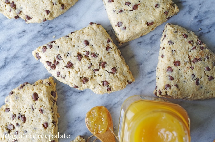 Buttery, bursting with rich chocolate chips, and perfect any day of the week - these Gluten-Free Oatmeal Chocolate Chip Scones are simple to make and taste incredible.