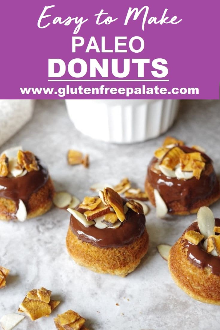 paleo donuts with chocolate glaze and slivered almonds