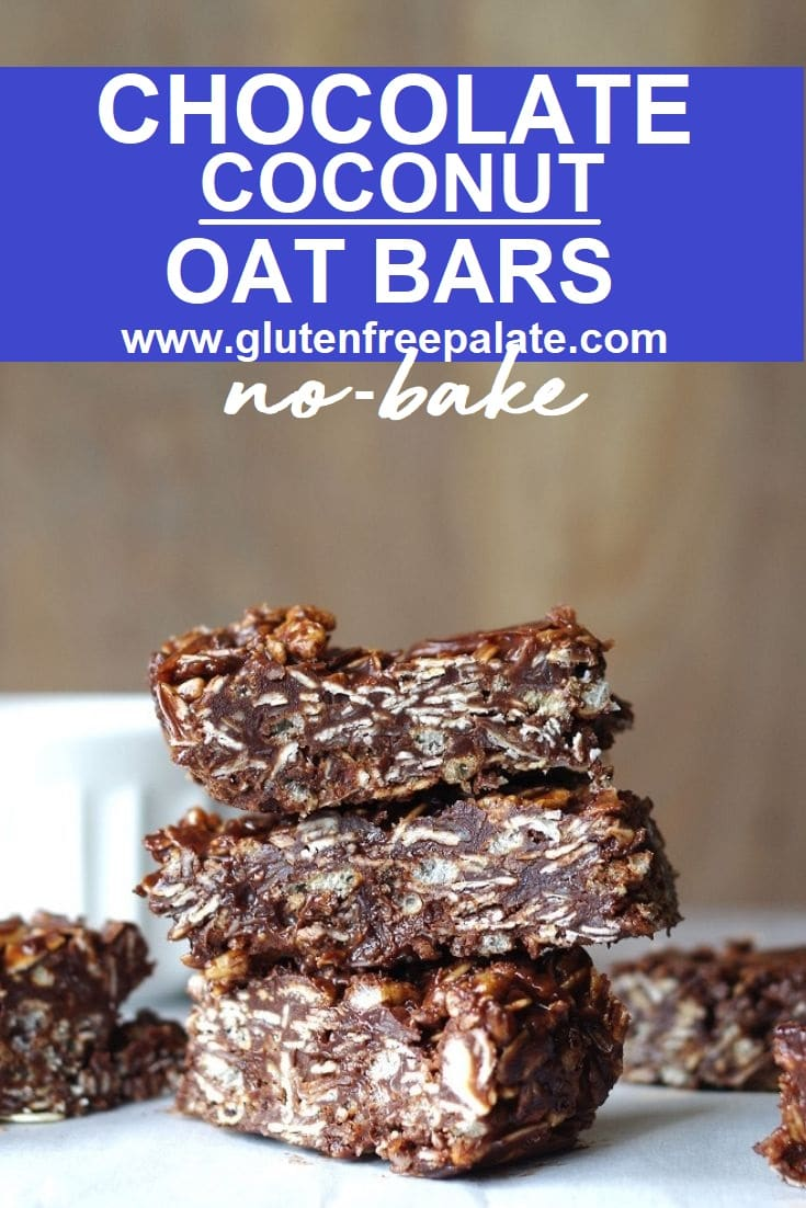 three chocolate oat bars stacked, with the words chocolate coconut oat bars written on top