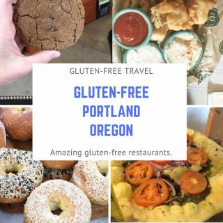 Picture of gluten-free cookie, gluten-free fish and chips, gluten-free bagel and gluten-free pizza from portland resturants.