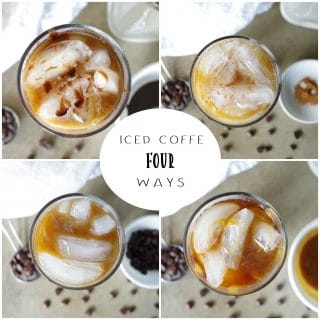 No need to go to your local coffee shop for a good Iced Coffee. Now you can make Iced Coffee Four Ways at home with a few minutes and some simple ingredients - Traditional Ice Coffee, Dirty Chai Ice Coffee, Salted Caramel Iced Coffee, and Mocha Iced Coffee.