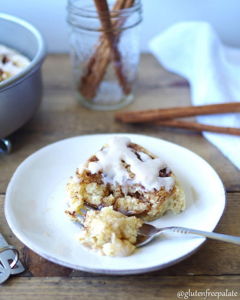 Gluten-Free Cinnamon Roll Cake that is easy, uses minimal ingredients, and takes the labor intensive steps of rolling and kneading away. The cake is swirled with cinnamon, then topped with a glaze, turning a classic breakfast into a simple morning treat.