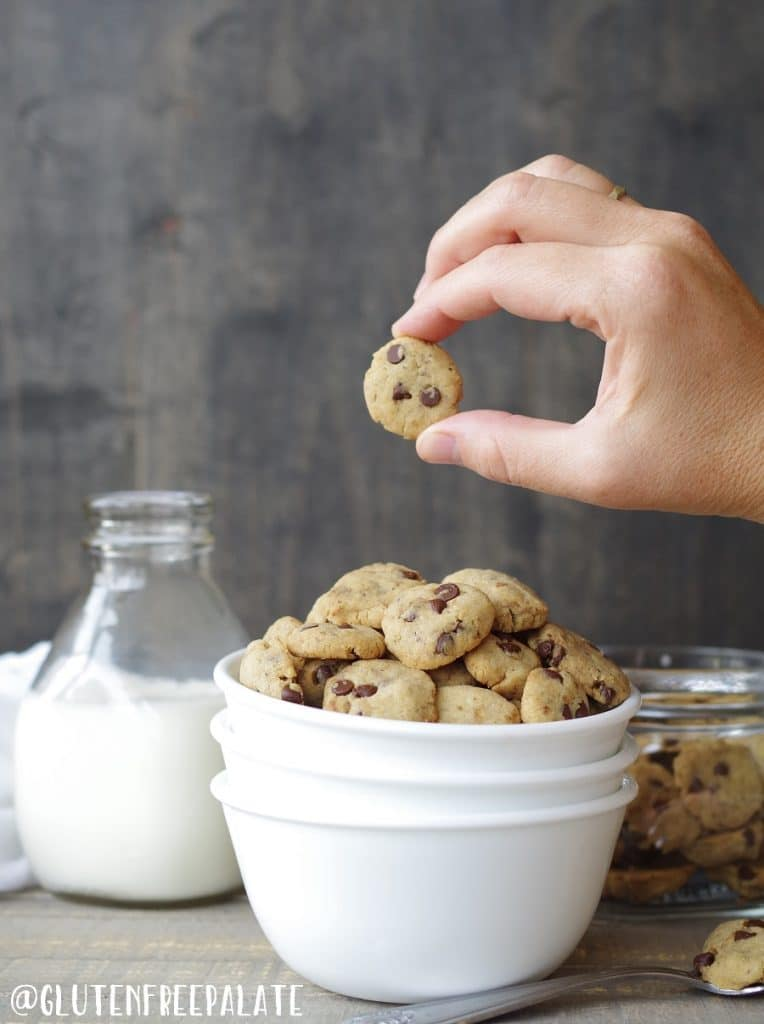 gluten free vegan cereal in the shape of chocolate chips cookies in a bowl with a hand holding a cookie