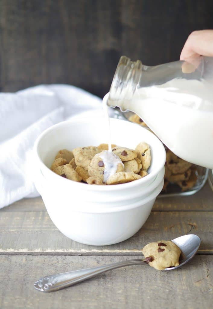 Crunchy, perfectly bite-sized and gluten-free, vegan, and nut-free, this Gluten-Free Vegan Cookie Crunch Cereal will be a new favorite with kids and adults!