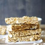 No-bake Gluten-Free White Chocolate Cashew Granola Bars made with wholesome ingredients. Chewy oats, creamy cashew butter, and a lite touch of sweetness make these granola bars the perfect snack.