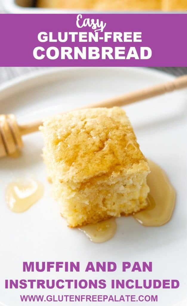 A slice of cornbread on a white place with a honey drizzle, the words easy gluten free cornbread written at the top of the image