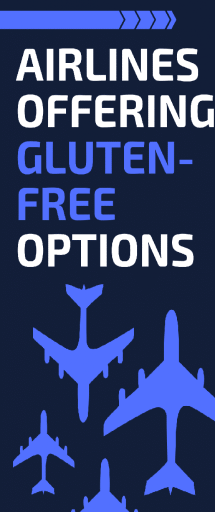 a long blue and white image with blue airplanes with the text Airlines Offering Gluten-Free Options at the top