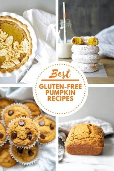 a collage of four pumpkin foods with the text best gluten free pumpkin recipes in the center