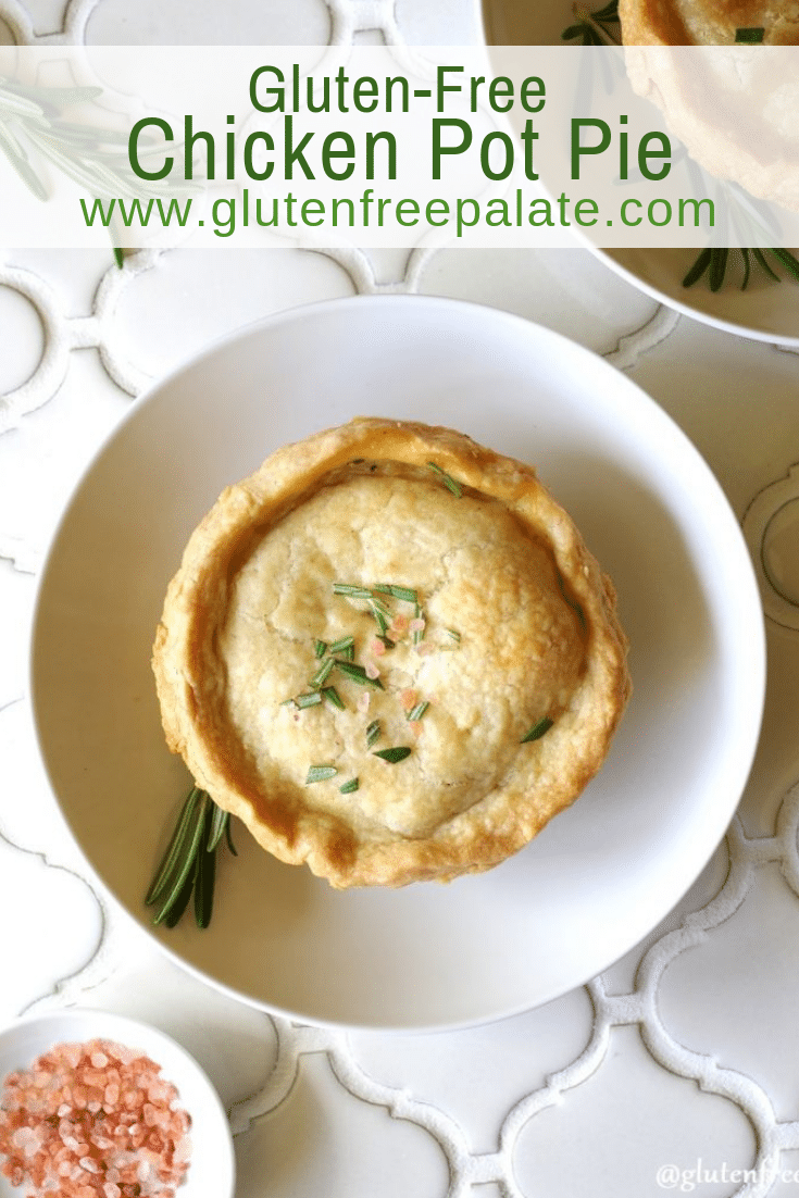 a pinterest pin of a chicken pot pie on a white plate with the words gluten-free chicken pot pie in text at the top