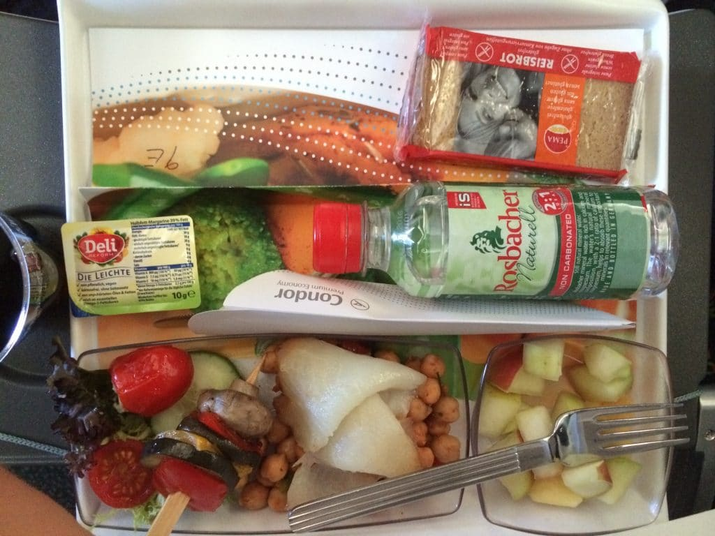 a tray of gluten free foods from a flight