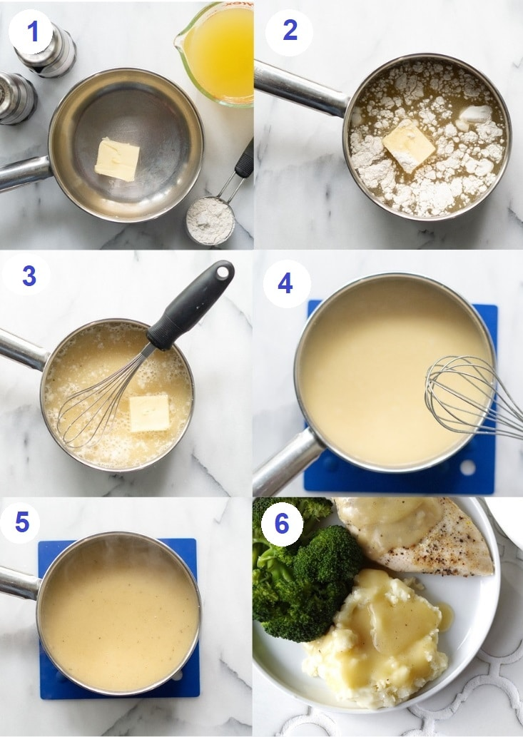 Gluten Free Gravy shown in six steps