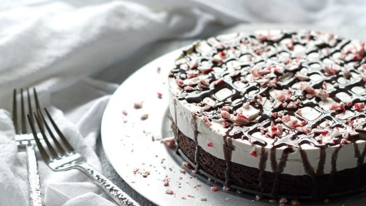 Gluten-Free Peppermint Brownie Ice Cream Cake