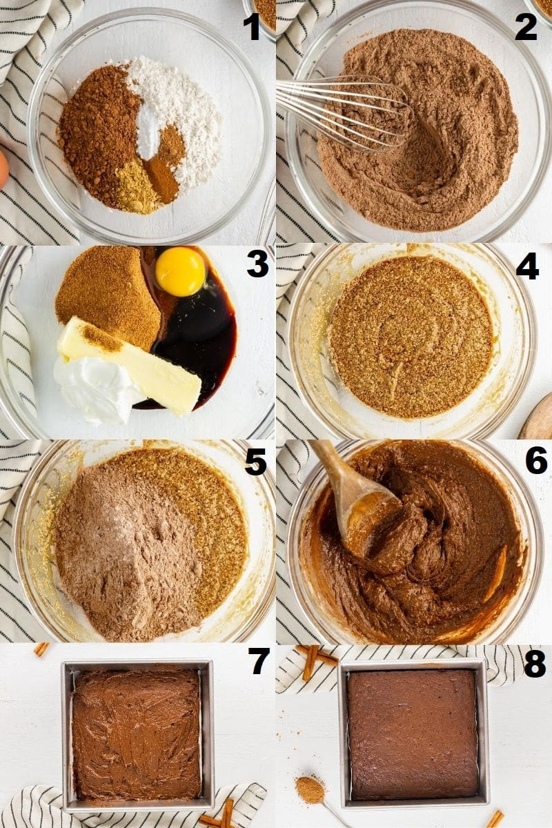 a collage of eight photos showing the steps how to make gluten free gingerbread bars