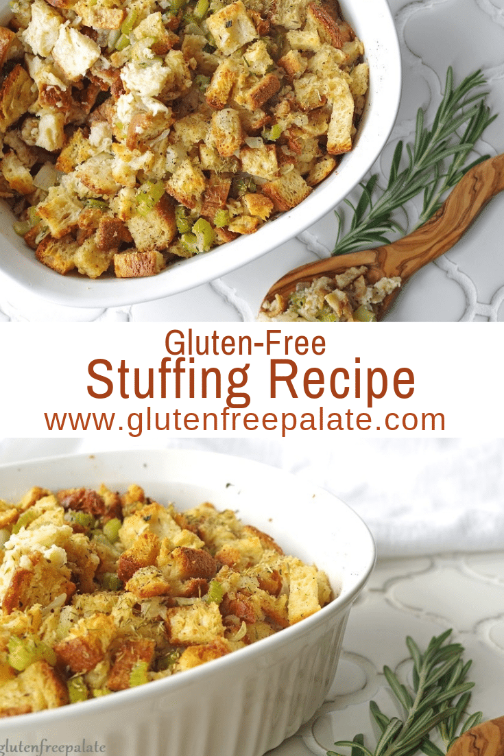 a pinterest pin with two images of stuffing with the words gluten-free stuffing recipe in text in the center