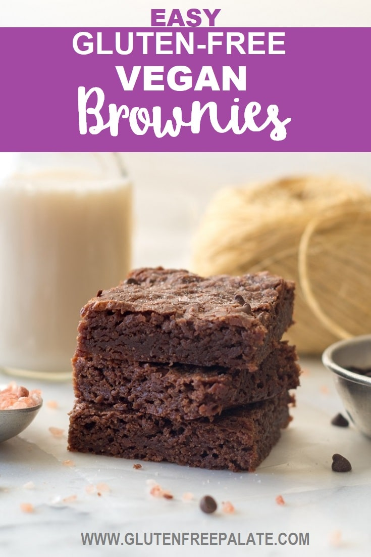 a pinterest pin of three brownies stacked on top of eachother with a jar of milk in the background