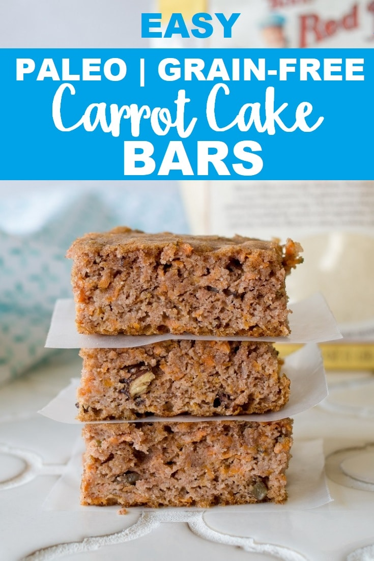 Grain-Free Carrot Cake Bars that are also gluten-free, dairy-free, and refined sugar free.