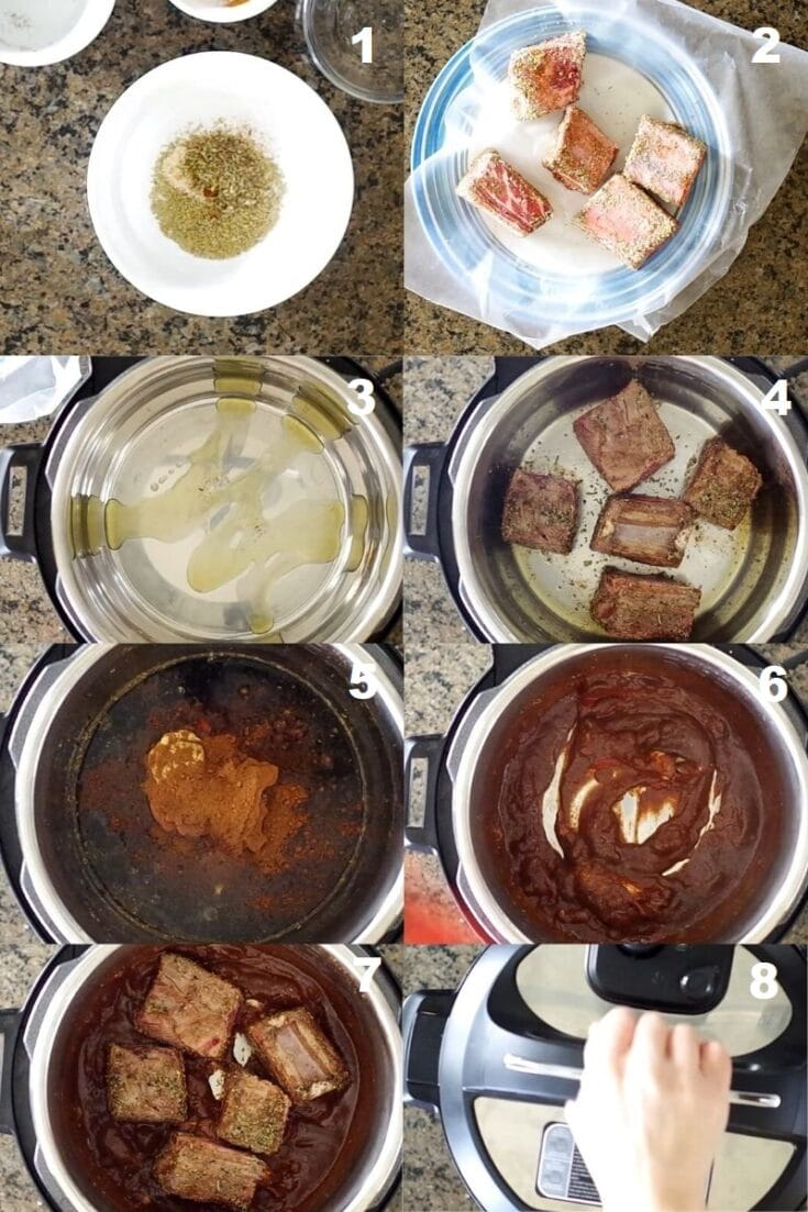 a collage of eight images showing how to make instant pot beef short rib