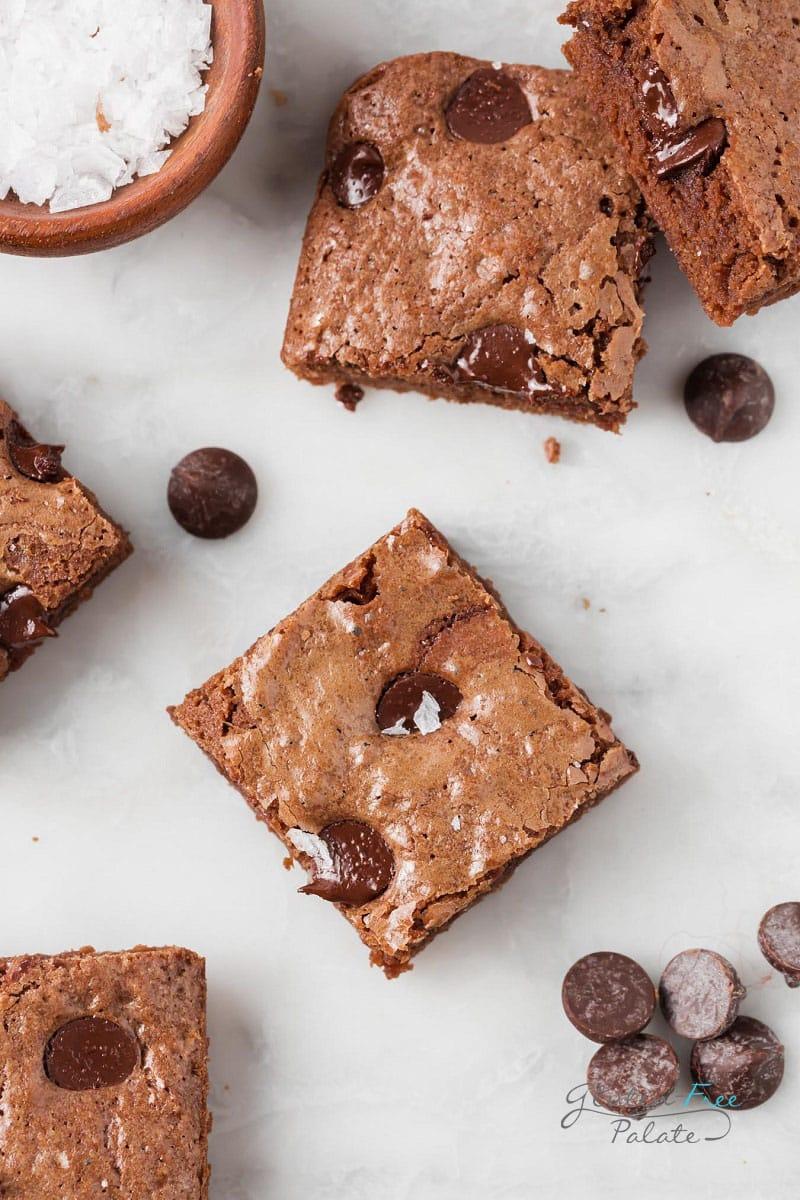 top down view of vegan gluten free brownies