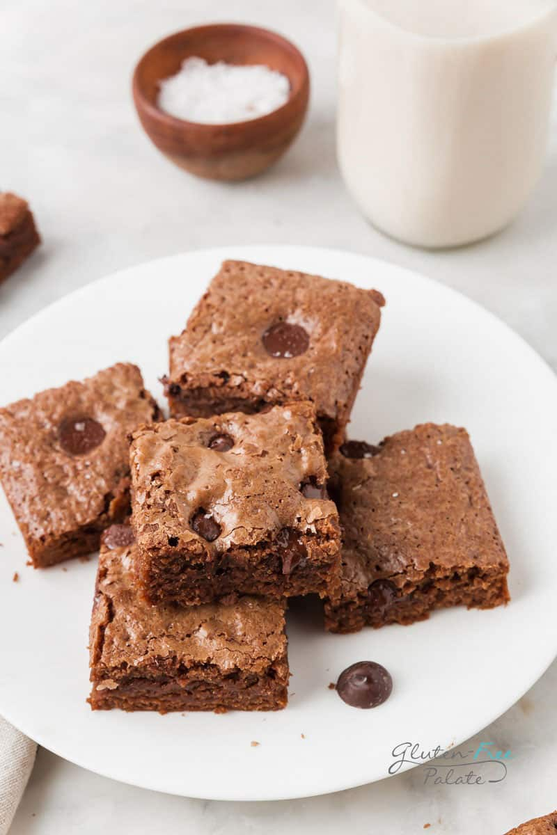 vegan gluten free brownies on a white plate