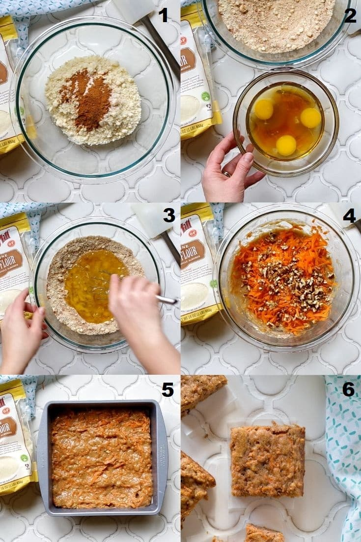 a collage ofsix photos showing how to make paleo carrot bars