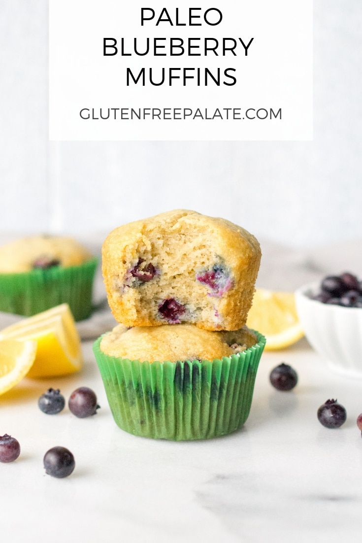 Paleo Blueberry Muffins that are simple to make, tender, and healthy. They are perfect for a grab-and-go breakfast, or post-workout snack.