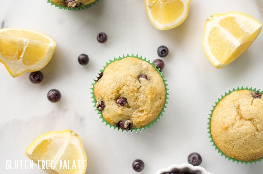 top down view of paleo blueberry muffins next to lemon wedges and scattered blueberries