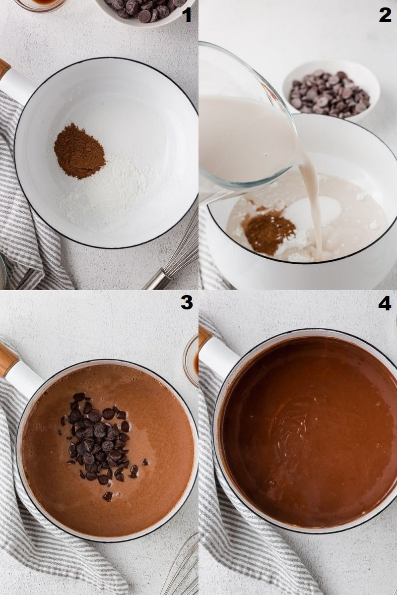 a collage of four photos showing the steps to make gluten free chocolate pudding