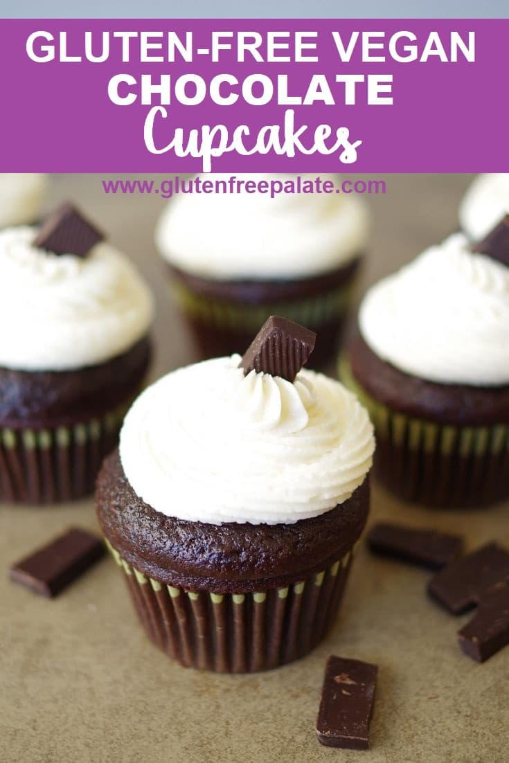 Gluten Free Vegan Chocolate cupcake with white buttercream frosting.