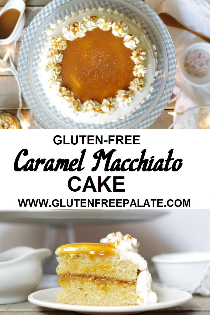 The delicious, gluten-free, dairy-free Caramel Macchiato Cake is bursting with caramel and coffee flavors and is topped with a dense, creamy vanilla bean frosting.