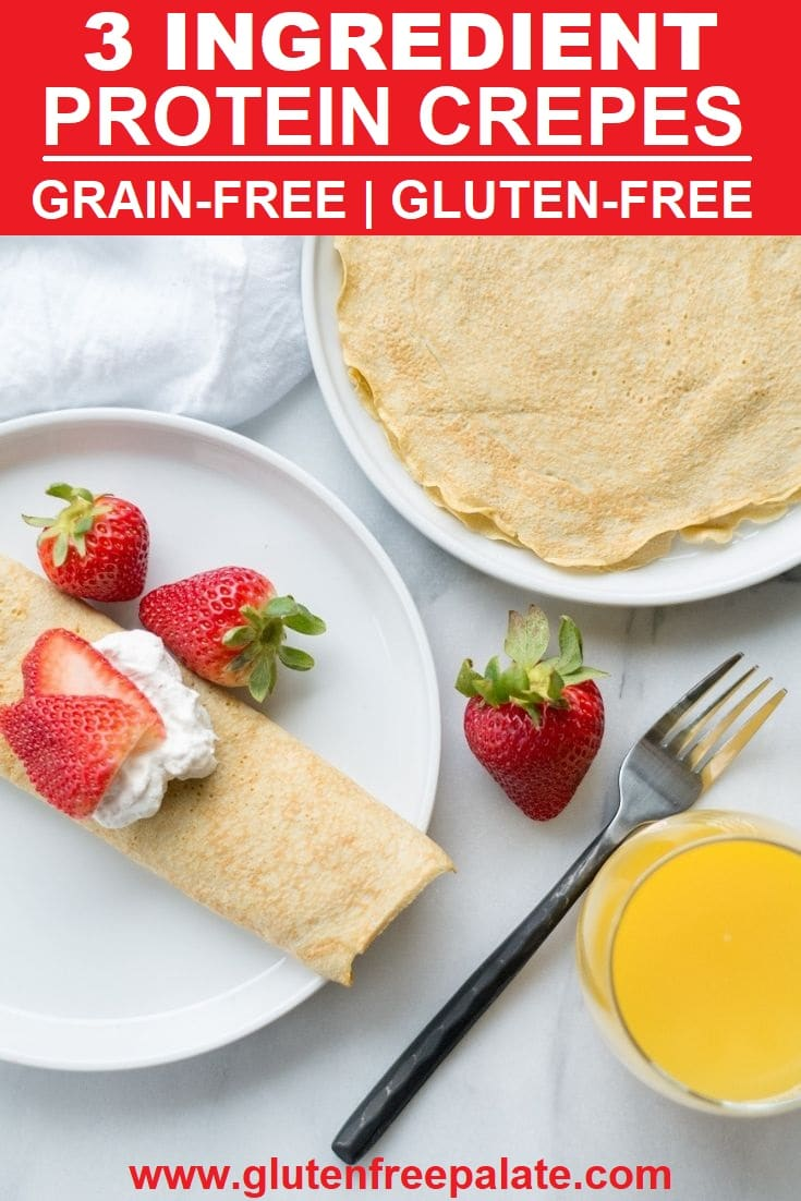 Grain-Free Protein Crepes on a white plate.
