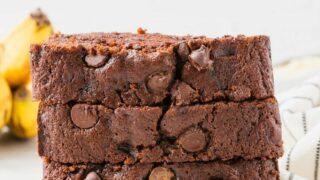 slices of gluten free chocolate banana bread stacked
