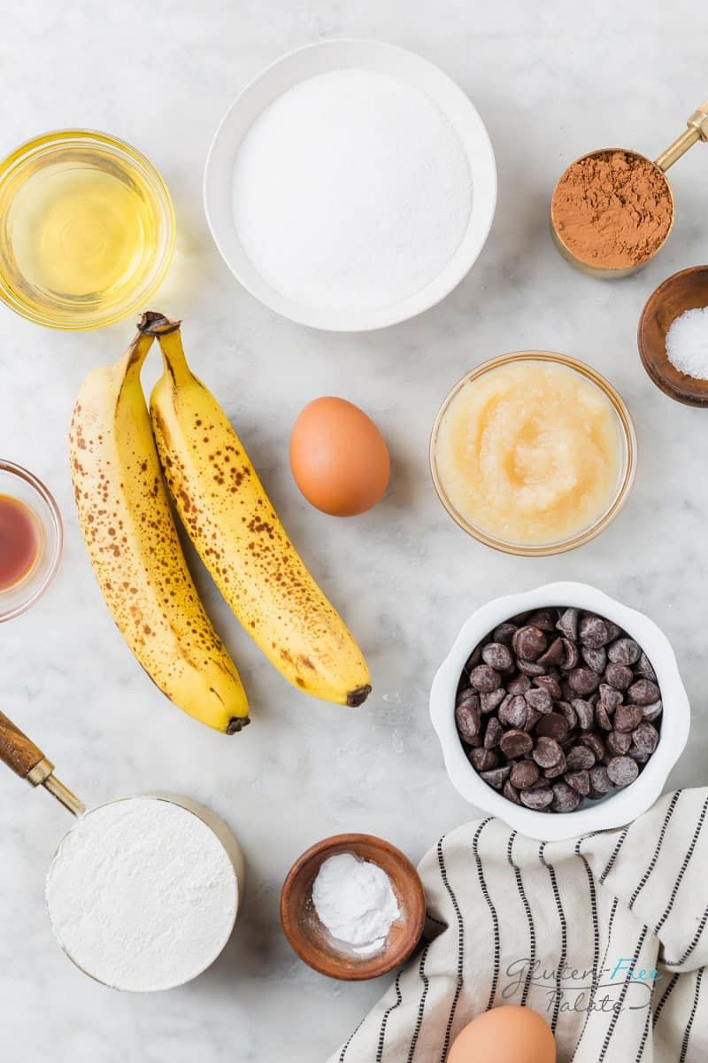 top down view of ingredients in chocolate banana bread