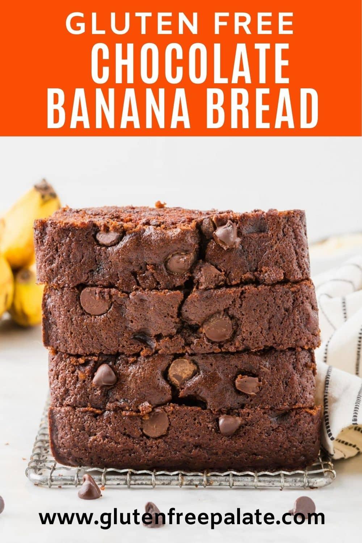 gluten free chocolate banana bread pinterest pin collage