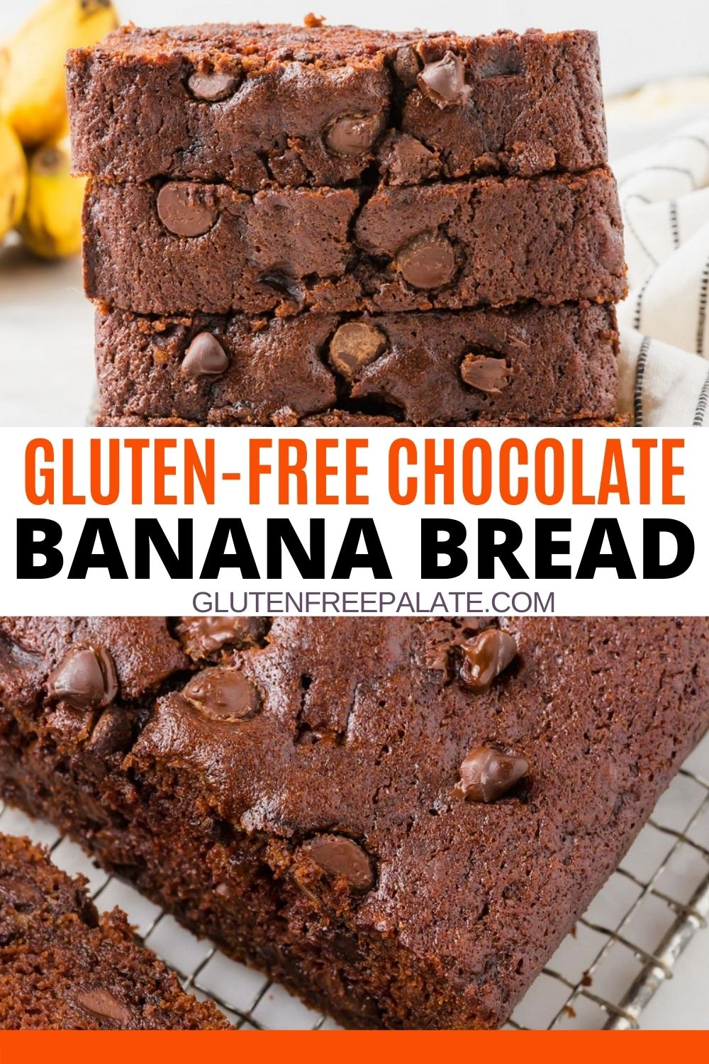 pinterest pin collage for gluten free chocolate banana bread