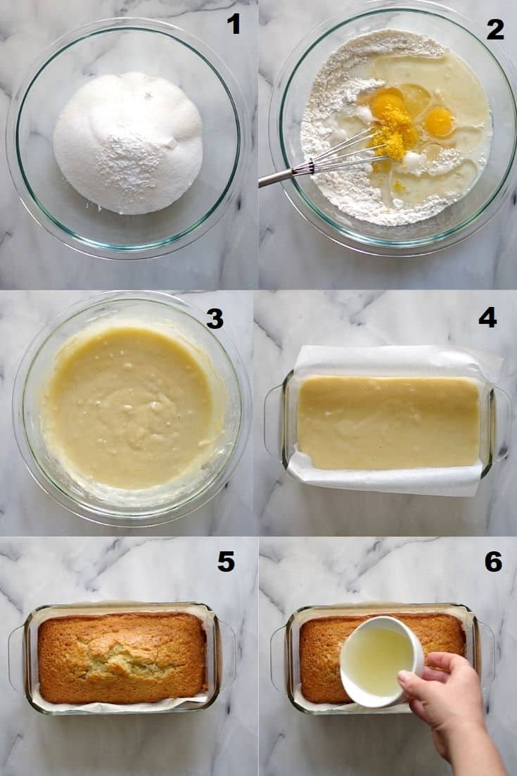 a collage of six photos showing the steps for making gluten free lemon bread