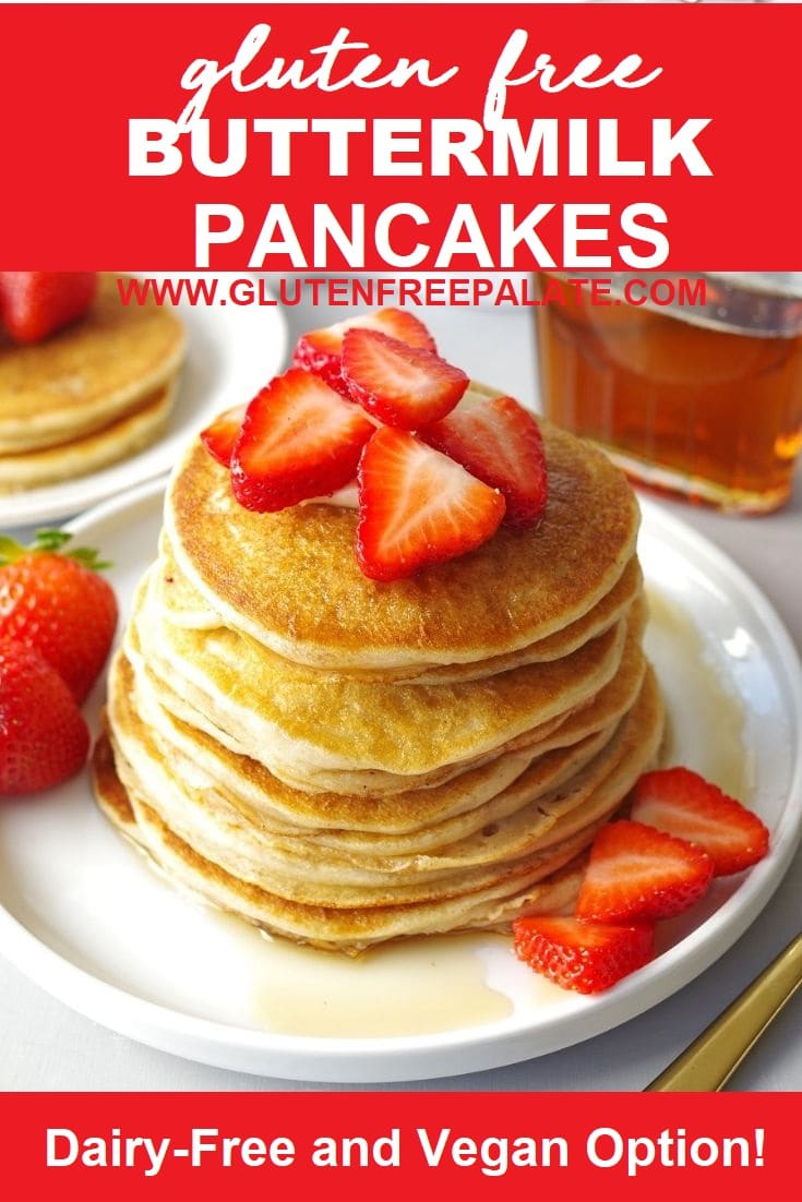 Gluten Free Pancakes stacked with maple syrup.