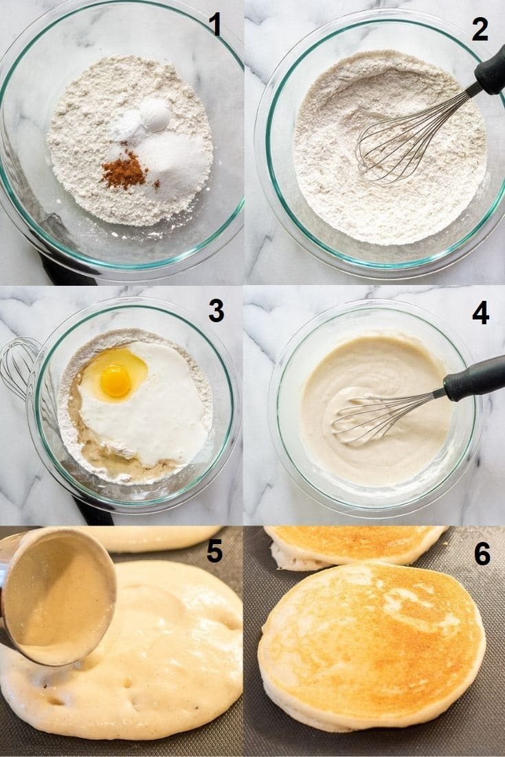 a collage of six photos showing how to make gluten free pancakes