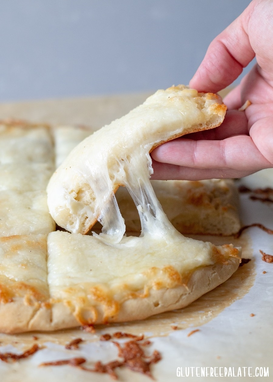gluten-free bread sticks with a cheese pull