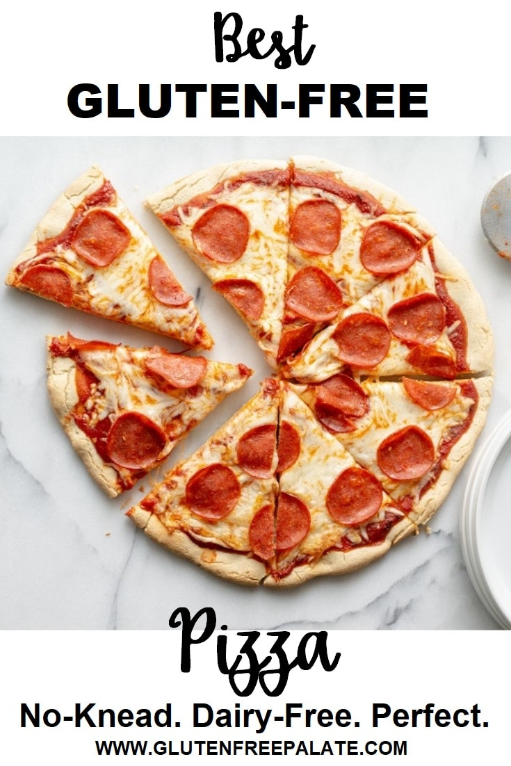 a pinterest pin of a cut pepperonit pizza with the words best gluten free pizza typed on it