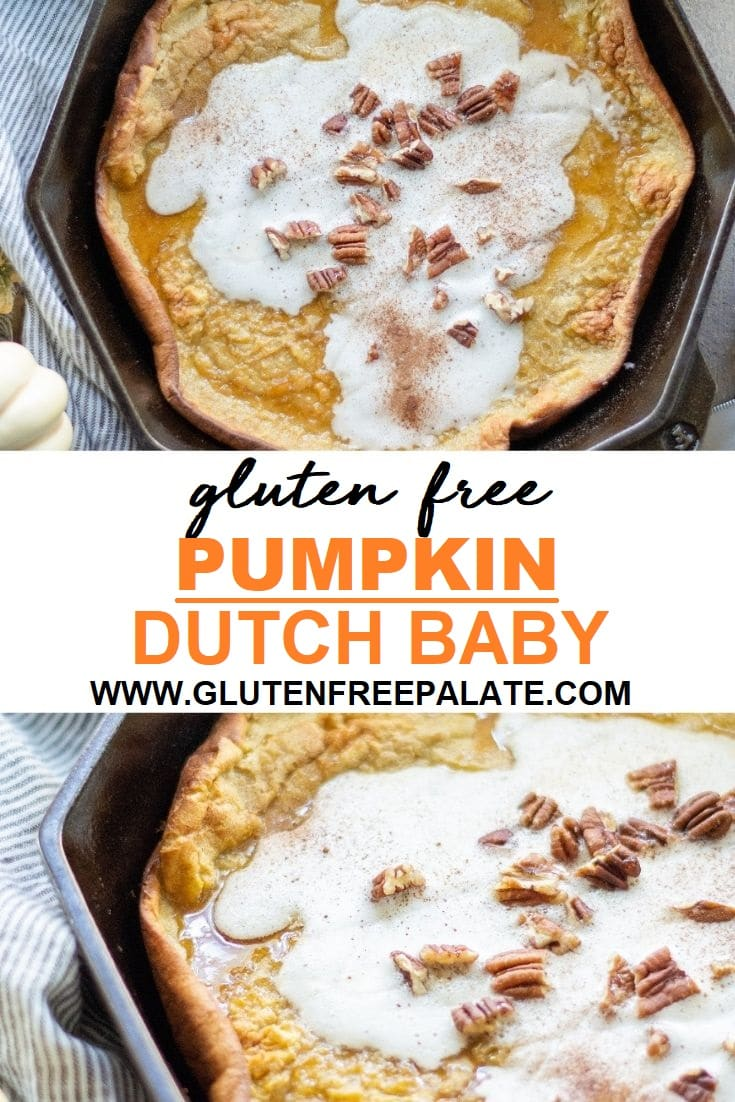 Gluten free pumpkin spice dutch baby in a cast iron skillet.