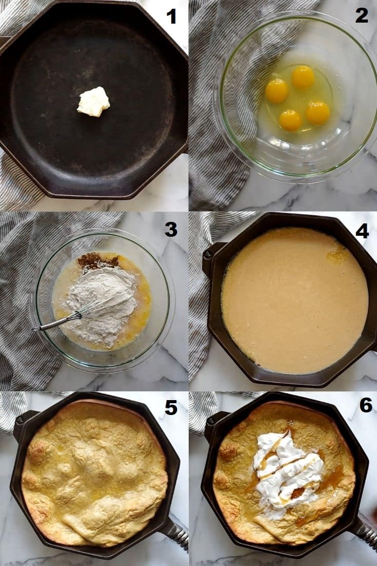 a collage of six photos showing how to make a gluten free dutch baby