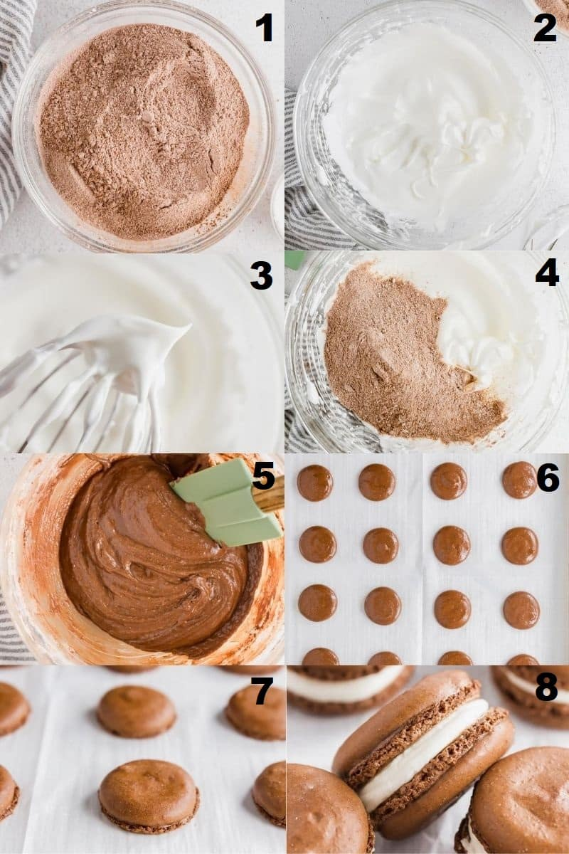a collage of eight photos showing the steps how to make gluten free macarons