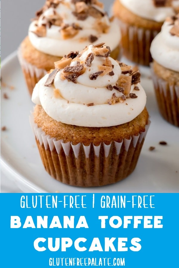 Sweet, tender, and bursting with bananas, these grain-free banana toffee cupcakes have the perfect combination of flavors.