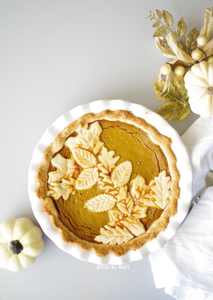 Smooth pumpkin filling, the aroma of spices, and a flaky crust make this scrumptious homemade gluten-free pumpkin pie a holiday favorite.