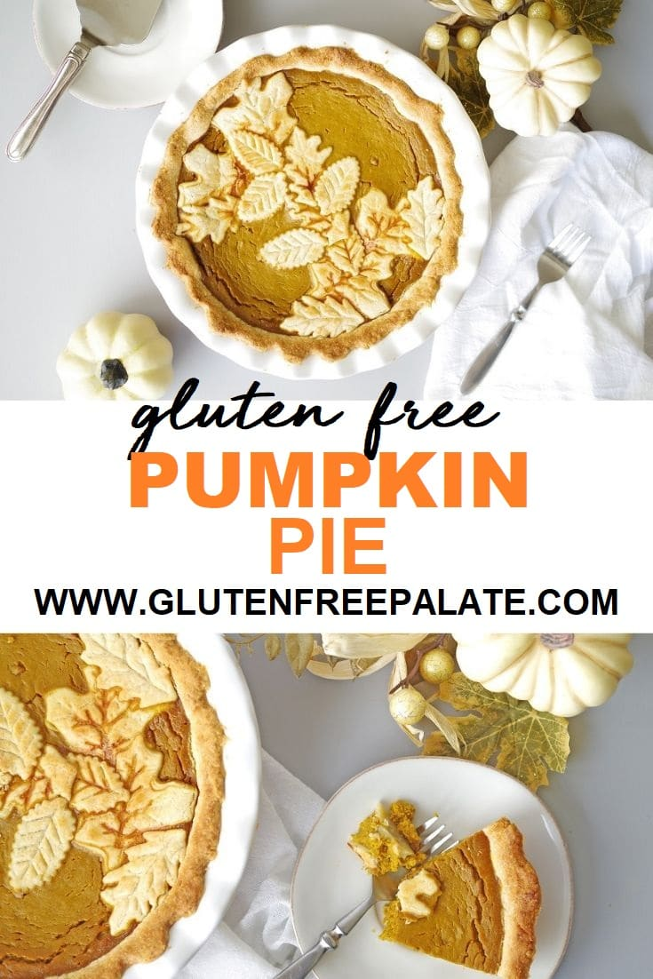 gluten free pumpkin pie in a white pie pan.