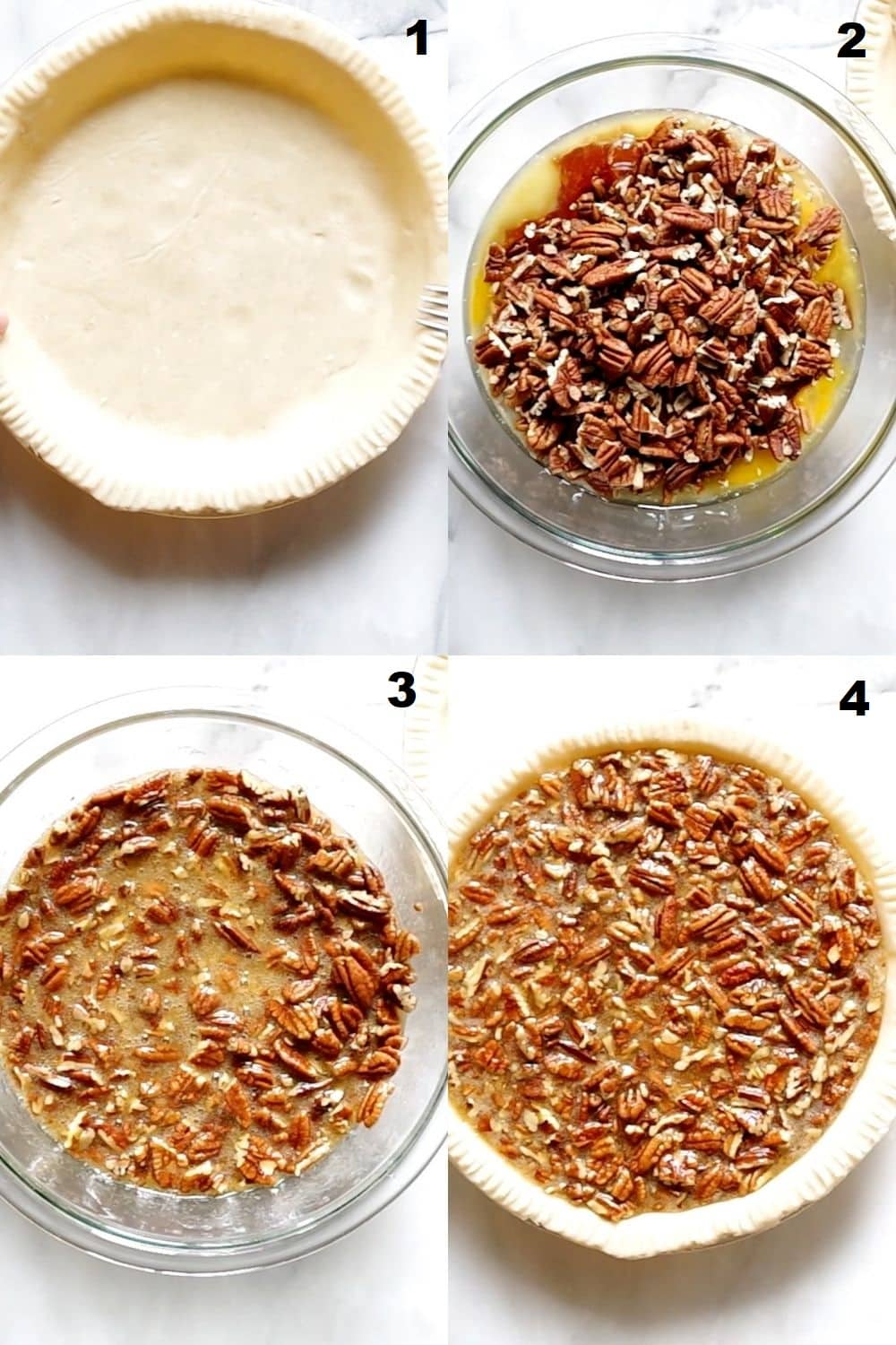 a collage of four photos showing how to make gluten free pecan pie