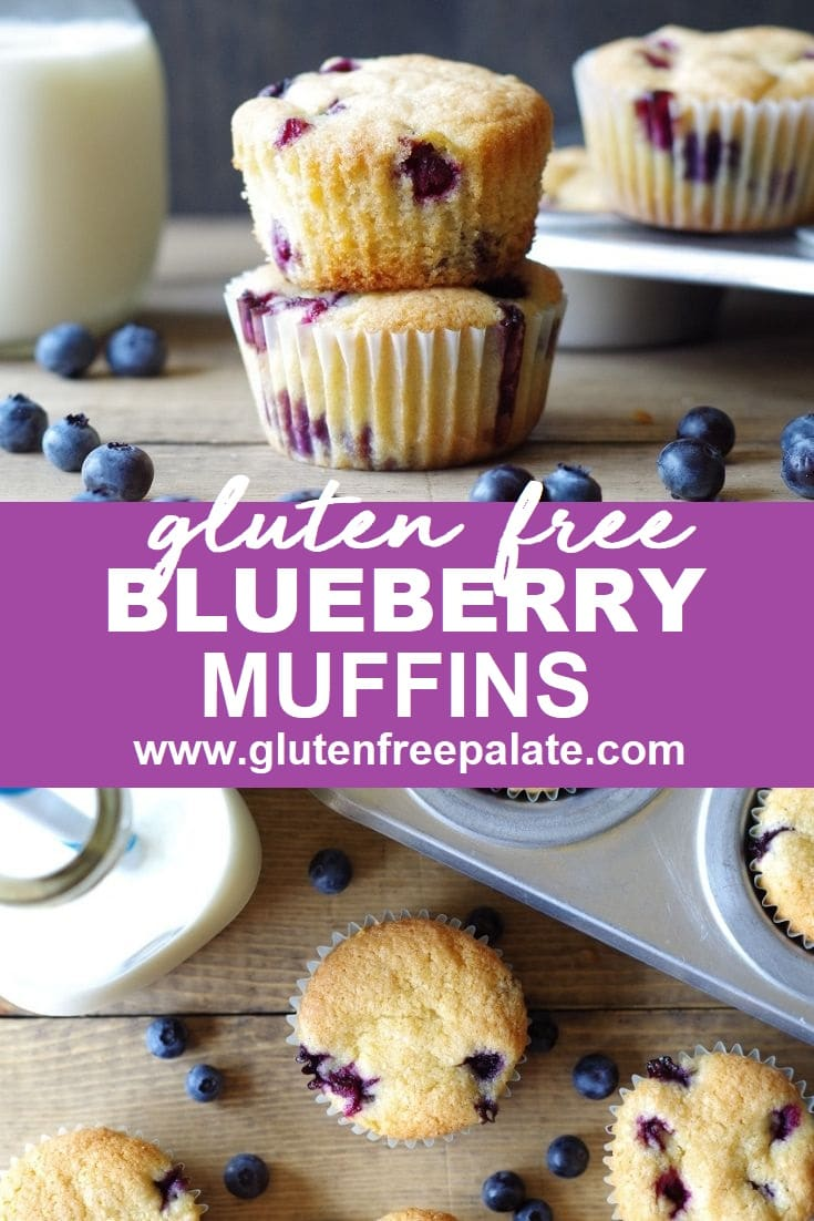 a collage photo of Gluten Free Blueberry Muffins stacked at the top of the photo, the woreds gluten free blueberyr muffins in text in the center, a top down view of a blueberry muffin at the bottom of the photo