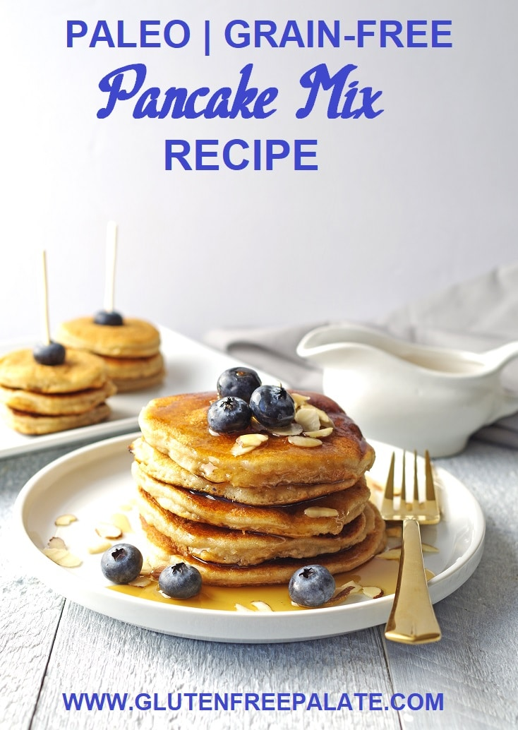 a pinterest pin with pancakes stacked on a white plate, topped with blueberries and maple syrup