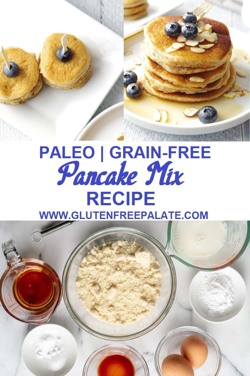 A Paleo Pancake Mix Recipe that is simple to make, a tried and true grain-free pancake recipe, and can be made right away, or stored for future use. Dairy-free, and refined-sugar free, these paleo pancakes are fluffy and the perfect start to any morning. Vegan option included.